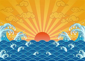 太陽、波、祥雲のベクター素材