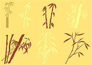 素材の竹のシルエットをベクターします。