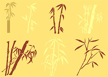 Matériau de vecteurs de silhouettes de bambou