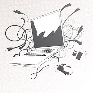 Material de computadora portátil de vectores
