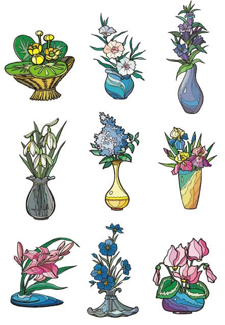 เวกเตอร์ภาพประกอบลักษณะลายดอกไม้วัสดุ-2