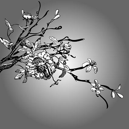 Schwarz-weiß Zeichnung-Vektor Mu Mianhua