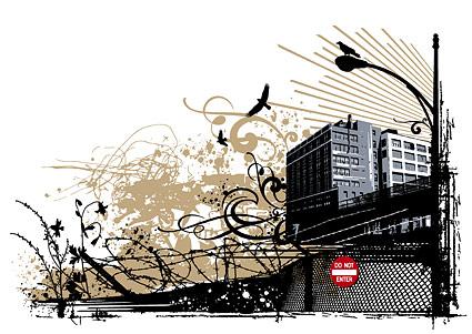 Alambre de púas, luces, edificios altos