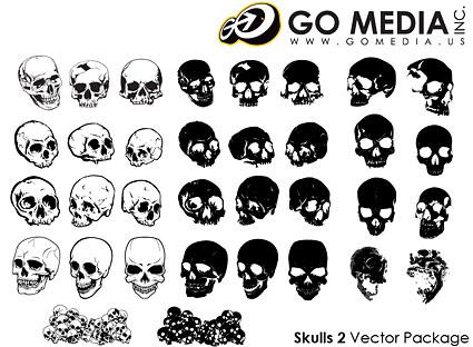 Gehen Sie-Media produziert-Vektor-Material - Manuskripthalter Schädel