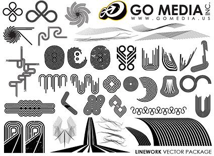 Vá mídia produzida vector material - uma combinação de linhas