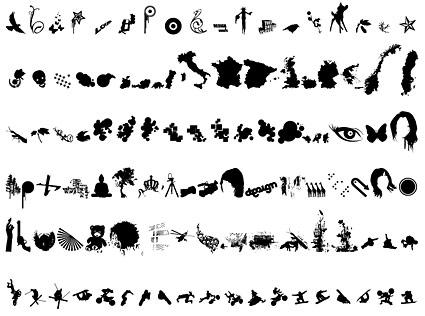 Siete de los ocho elementos de diseño arbitraria diversos