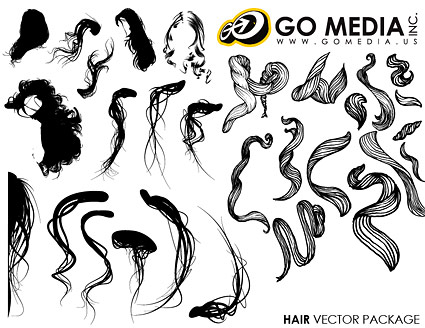 移動メディアの生産のベクター素材 - 女性の髪シリーズ