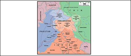 世界 - カシミール、ジャンムー マップのベクトル地図