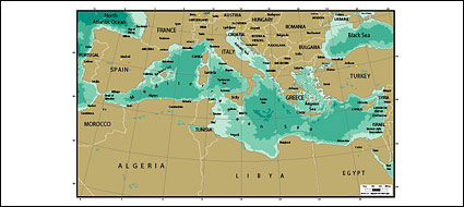 Mapa del vector del mundo - el mapa del Mediterráneo