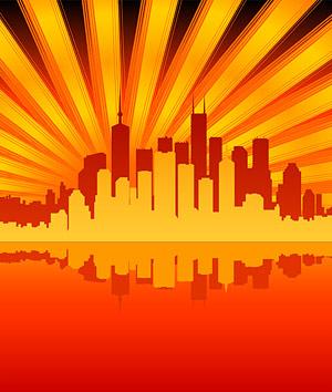 Réflexion de la ville de la matière de vecteur