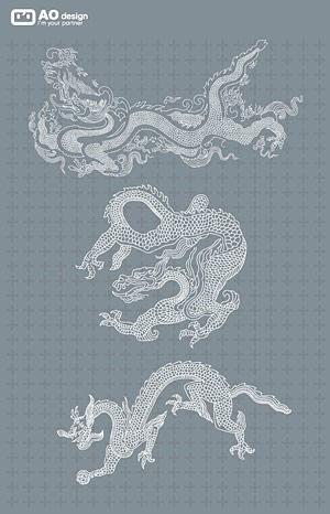 Klassische chinesische Drache Logo Linie
