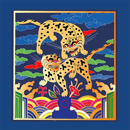 古典的な中国の縁起の良いタイガー マップ
