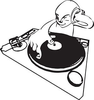 Ilustraciones de la figura de DJ vector de material