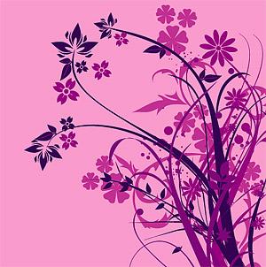 Flores de moda púrpura