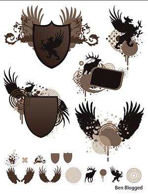 Шилдс, крылья, изобразительных материалов вектор