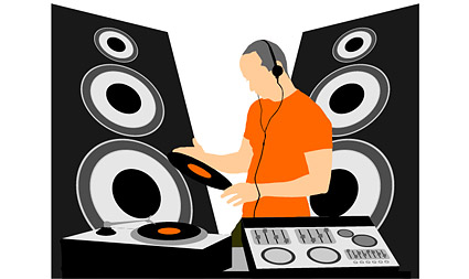 Material de vectores de equipos de música de DJ