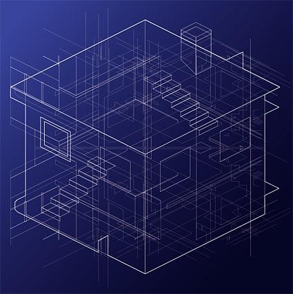 Перспективы линии дом векторного материала