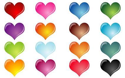 Efecto de colorido de cristal en forma de corazón