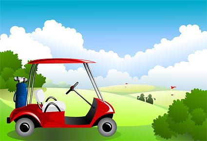 Под голубое небо и белые облака материал векторное поле для гольфа