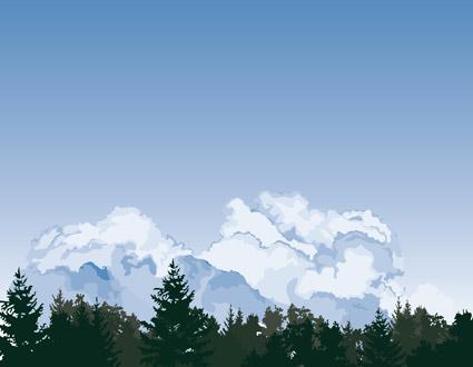 ベクトルの森林の空の雲