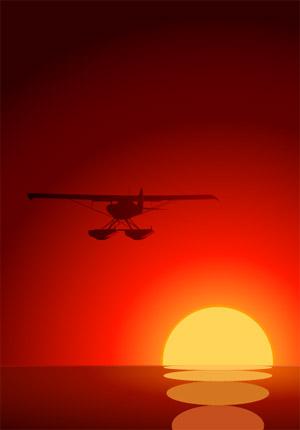 aviones en el atardecer de vectores de material