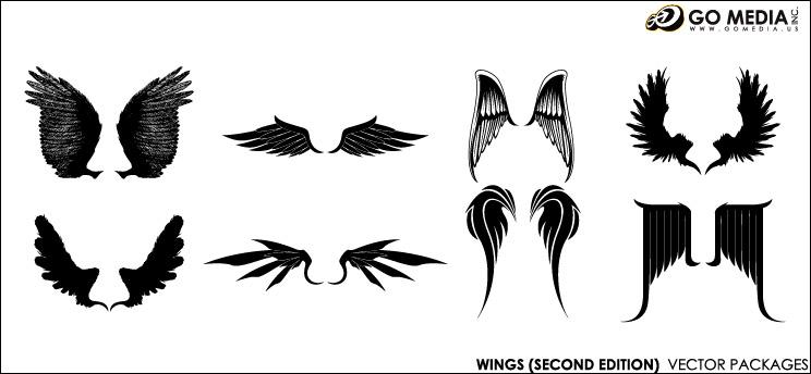 이동 미디어 생산 벡터 소재-멋진 날개-2