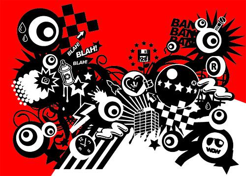 Con el rojo y negro
