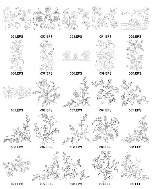 Tipo de flor de línea de dibujo vectorial Diagrama-3