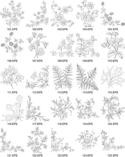 Bunga jenis gambar garis vektor diagram-5