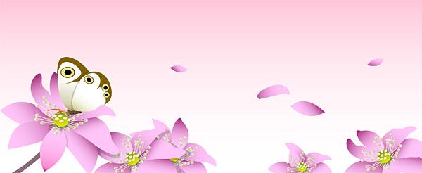Bunga-bunga merah muda dan kupu-kupu