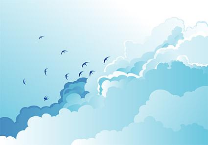 ダヤン ベクトル青い空と白い雲