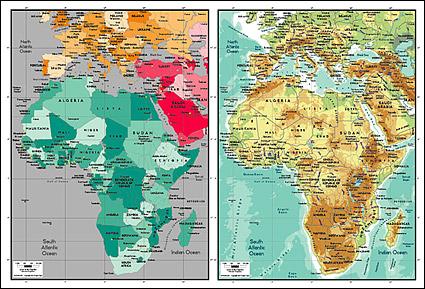 แผนผังของเวกเตอร์ของโลกสวยงามพร้อมวัสดุ - แผนที่ของทวีปแอฟริกา
