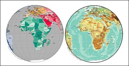 แผนผังของเวกเตอร์ของโลกสวยงามพร้อมวัสดุ - ทรงกลมแผนที่ของทวีปแอฟริกา