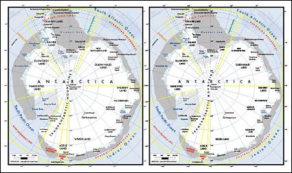 แผนผังของเวกเตอร์ของโลกสวยงามพร้อมวัสดุ - แผนที่ของทวีปแอนตาร์กติกา