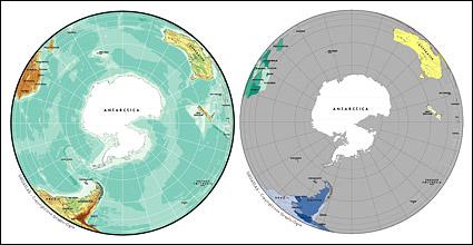 แผนผังของเวกเตอร์ของโลกสวยงามพร้อมวัสดุ - ทรงกลมแผนที่ของทวีปแอนตาร์กติกา