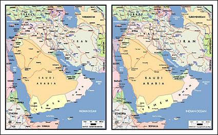 Carte de vecteur de la matière exquis du monde - la carte de la péninsule arabique