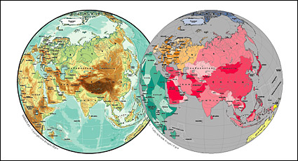 Carte vectorielle du matériau exquis monde - Carte sphérique Asie