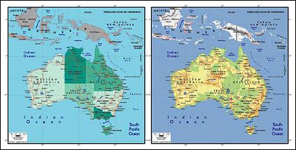 แผนผังของเวกเตอร์ของโลกสวยงามพร้อมวัสดุ - แผนที่ออสเตรเลีย