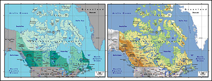 Mapa de vetor do material requintado mundo - mapa do Canadá