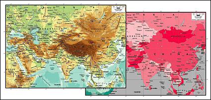 แมปแผนผังเวกเตอร์ของโลกสวยงามพร้อมวัสดุ - หัวใจของเอเชีย