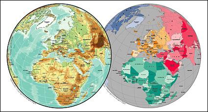 Mapa de vetor do material requintado mundial - o mapa de esfera Europeia