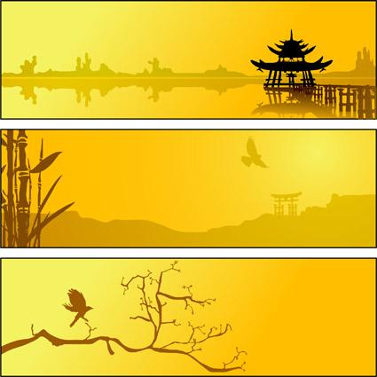 夏湖風景ベクトル材料
