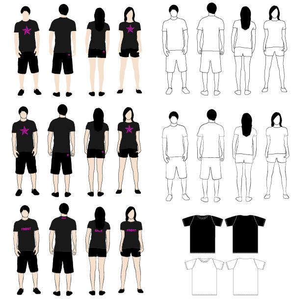 Matériau de modèle pour le vecteur T-Shirt
