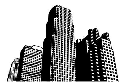 Ciudad de rascacielos en construcción de material de vectores