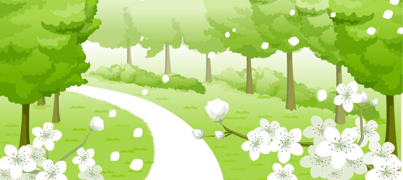 Fleurs, cul-de-sac, vecteur d'arbres
