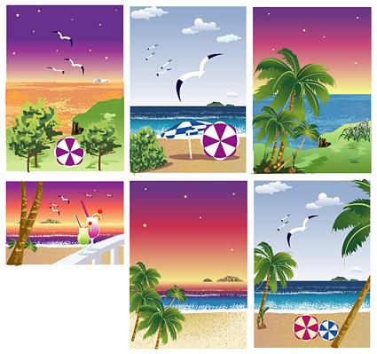 Playa, la playa, gaviotas, coco, bebidas