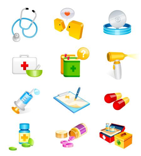 Médico, hospital suministra vector icono