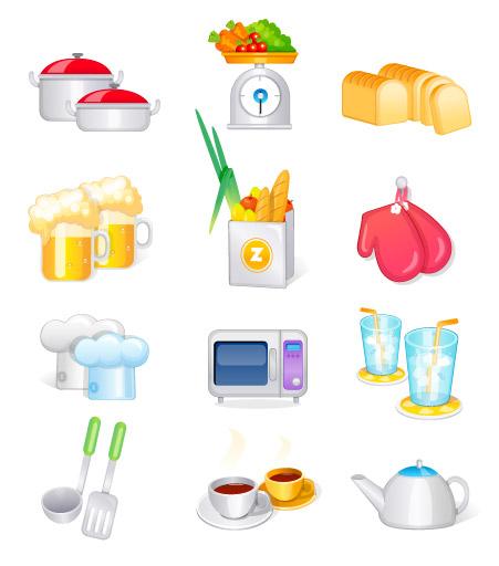 キッチン用品、台所用品ベクトル アイコン
