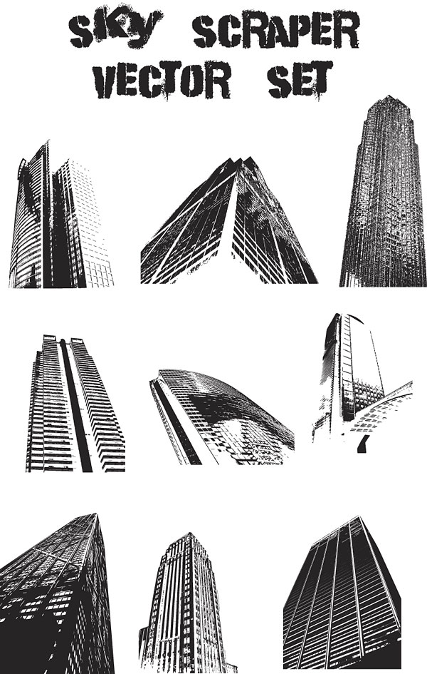Вектор современных высотных зданий