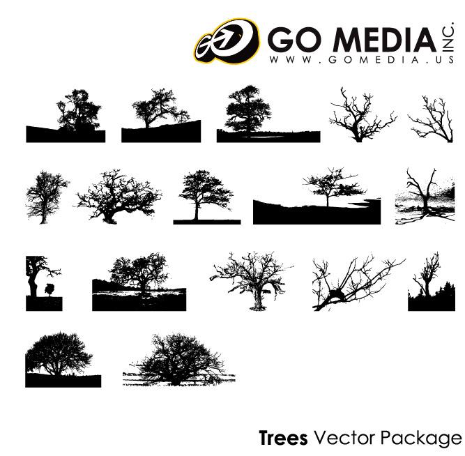Vaya medios producidos material de vectores - árboles en imágenes